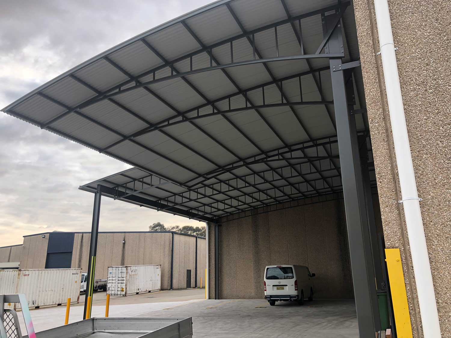 Shade structure for commercial buildings